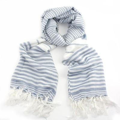 Grey & white stripy scarf