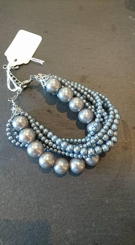 Grey mock pearl bracelet