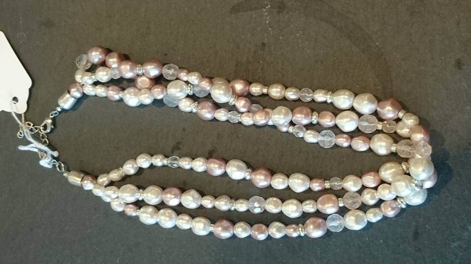 Pink mock pearl triple strand necklace