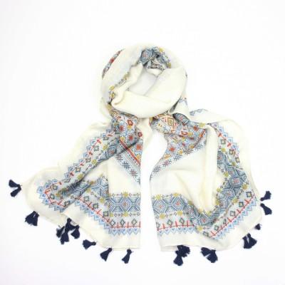White & blue Aztec scarf
