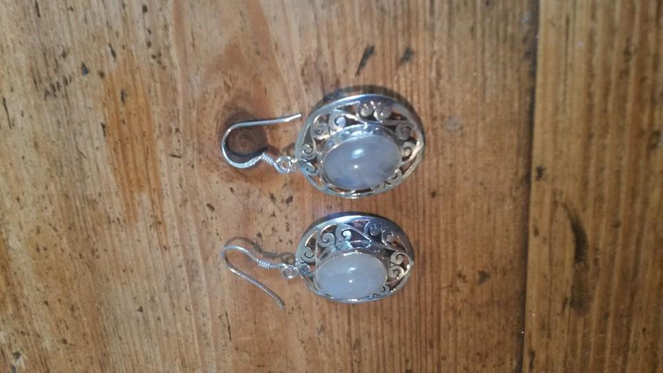 Rainbow moonstone & silver setting earrings