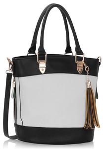 Black & white tassel charm bag