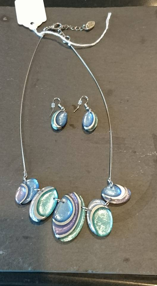 Blue, turquoise & silver necklace & earrings set