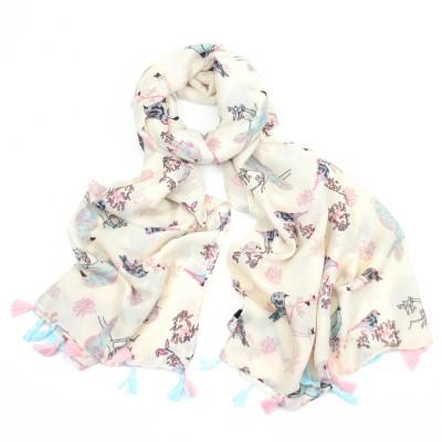 Pale pink & blue birds on cream scarf