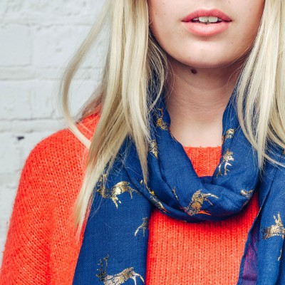 Navy scarf with gold reindeer