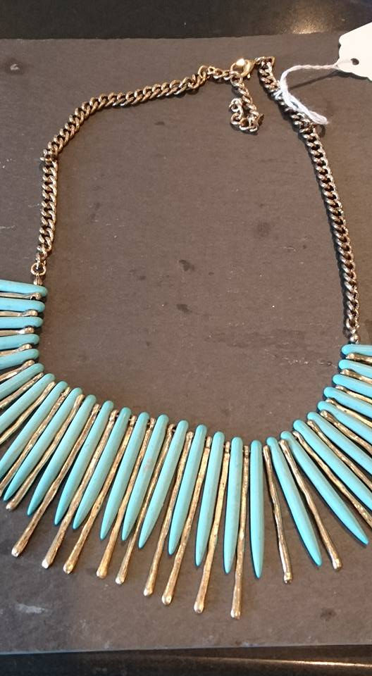 Turquoise & gold tribal necklace