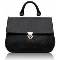 Black ostrich effect tote bag