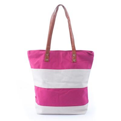 Pink & white striped beach bag