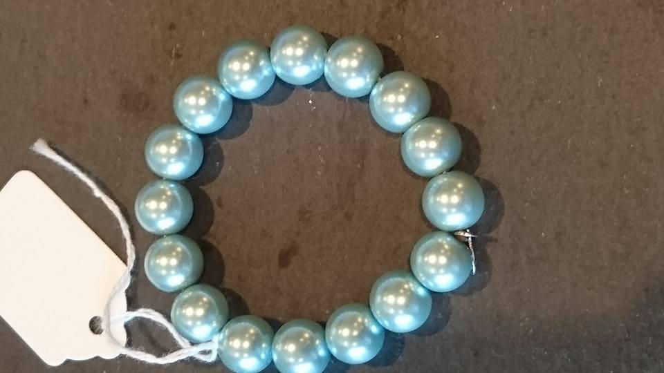 Soft pale blue mock pearl bracelet