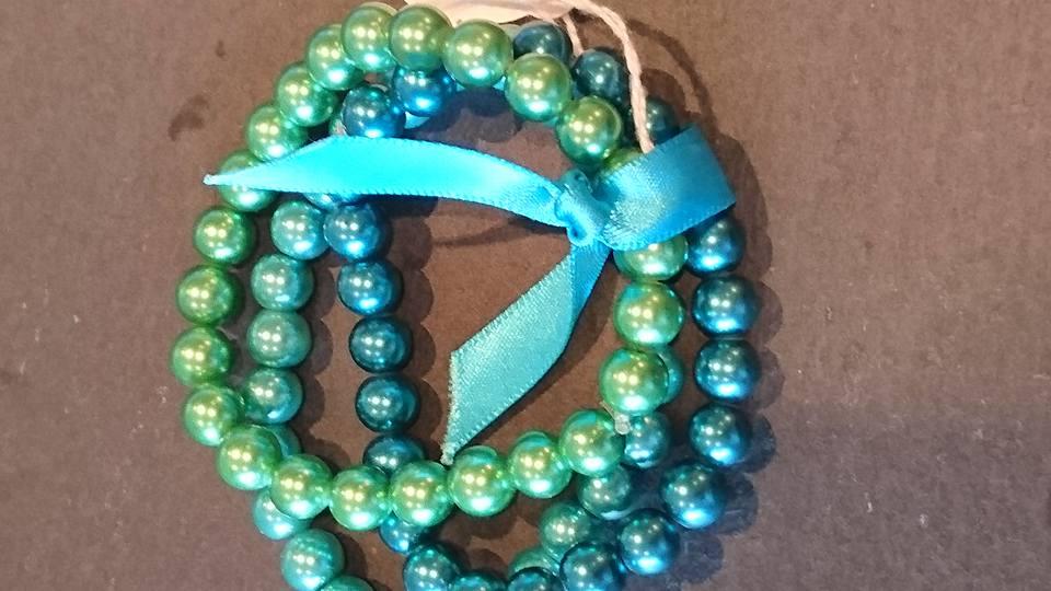 Triple strand turquoise & green bracelets