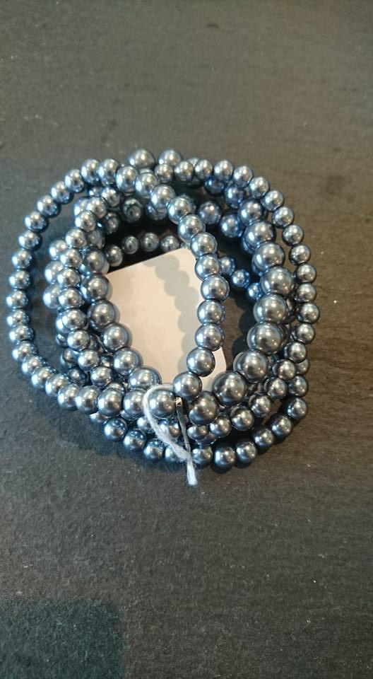 Grey five strand mock pearl bracelet