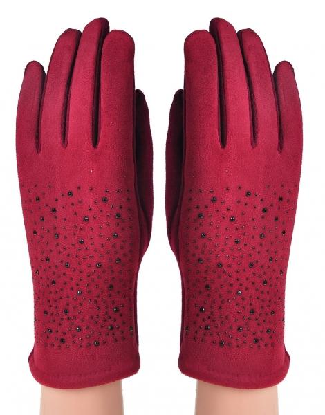 Burgundy diamente gloves