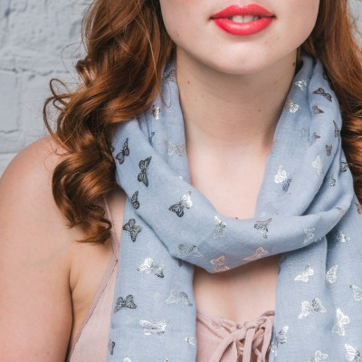 Grey sparkly butterfly scarf