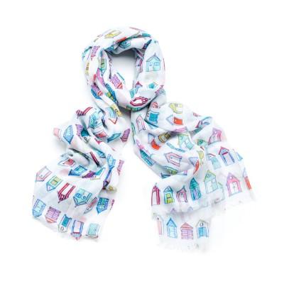 White beach hut scarf
