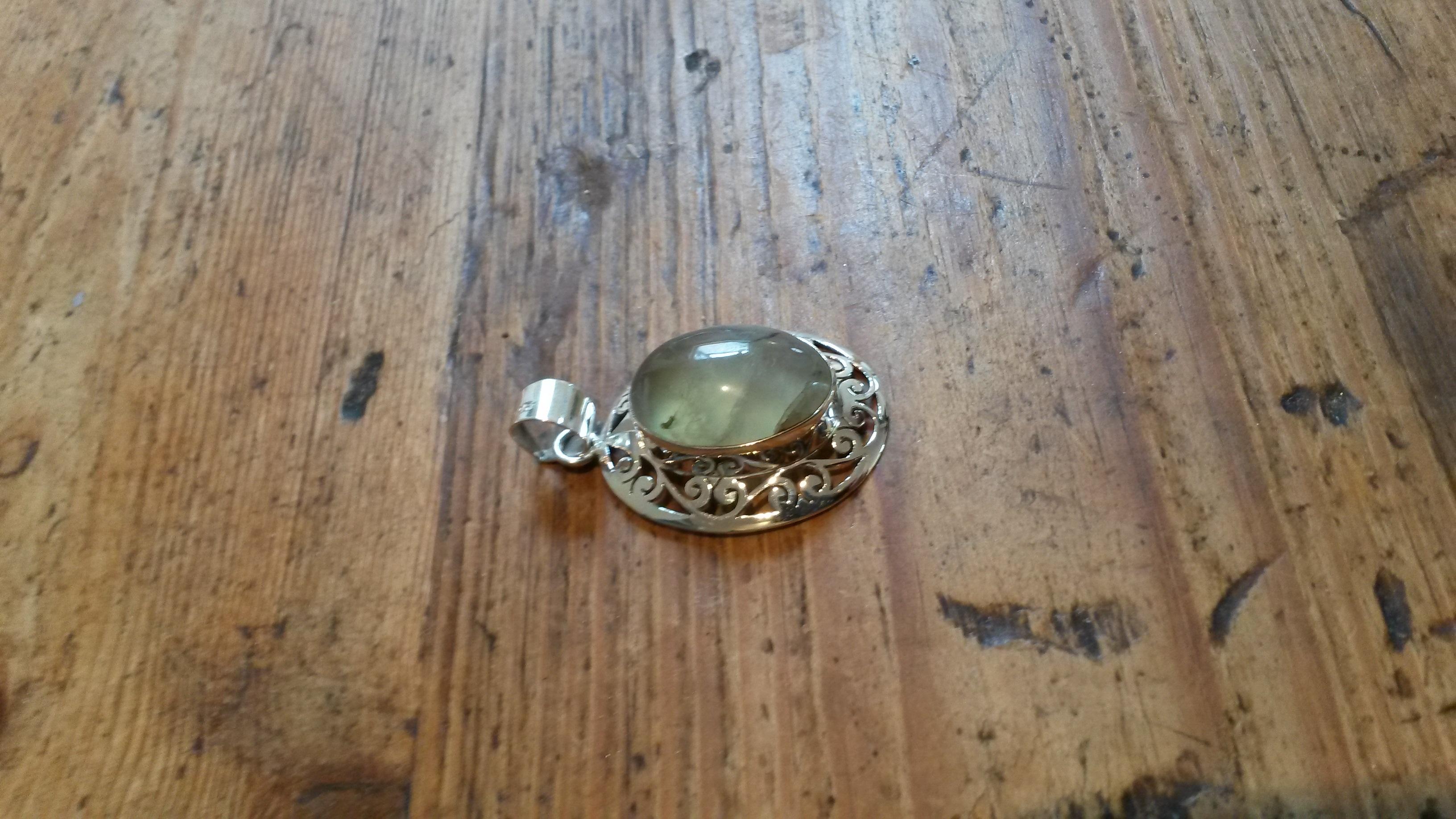 Prehnite green stone & silver pendant