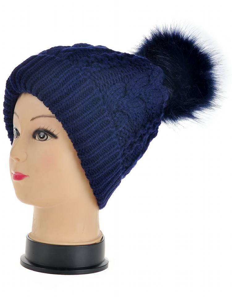 Blue pom pom hat