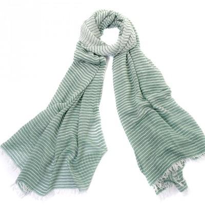 Thin green & white striped scarf