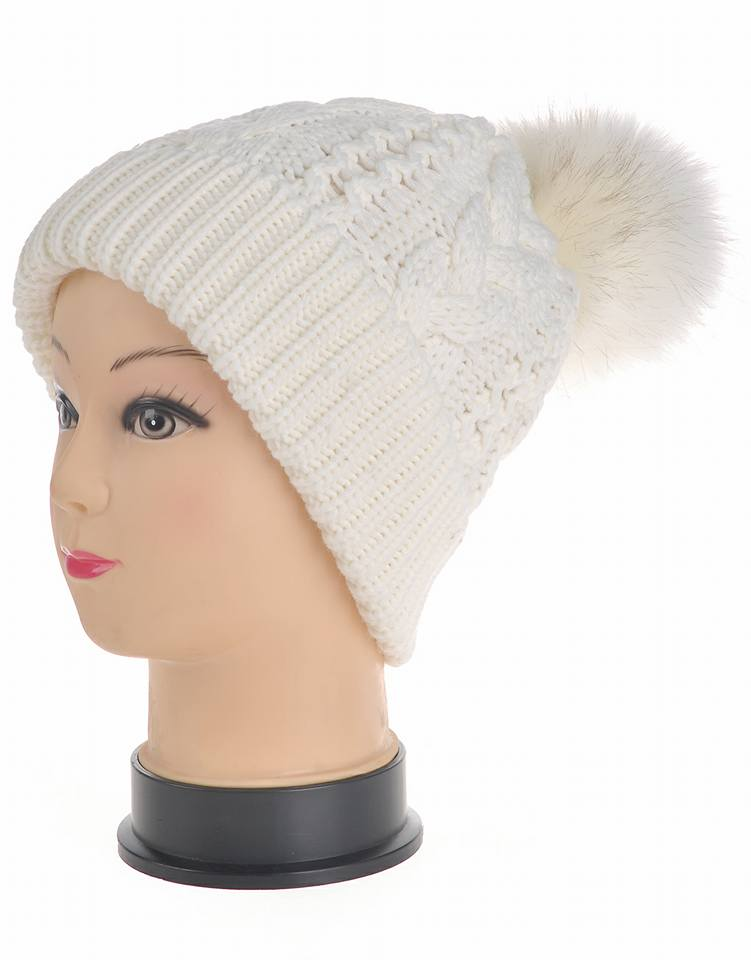 White pom pom hat
