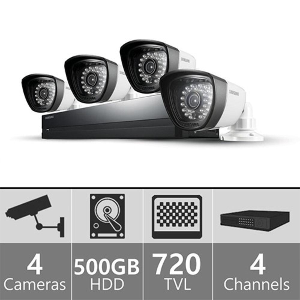 Samsung SDS-P3042 4-Channel 500GB DVR Home Security System w/4 Night-Vision & Weatherproof 720 Line Resolution Cameras With Full Installation