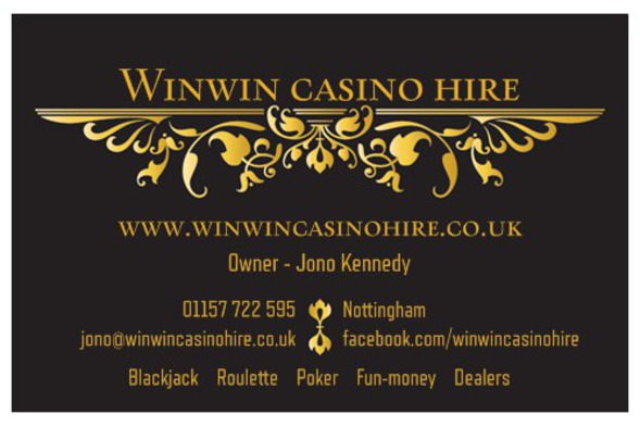Winwin casino hire Nottingham business card front