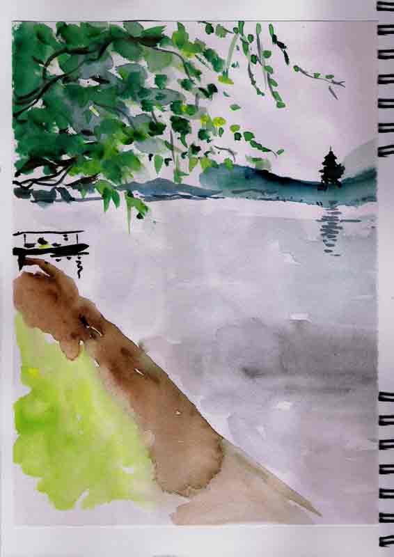 sur les berges du lac