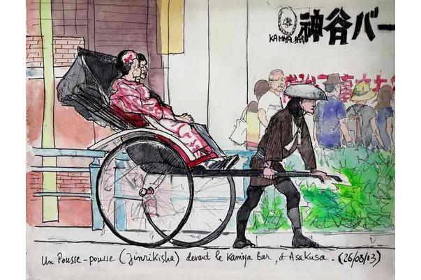 un pousse-pousse (Jinrikisha) à Asakusa
