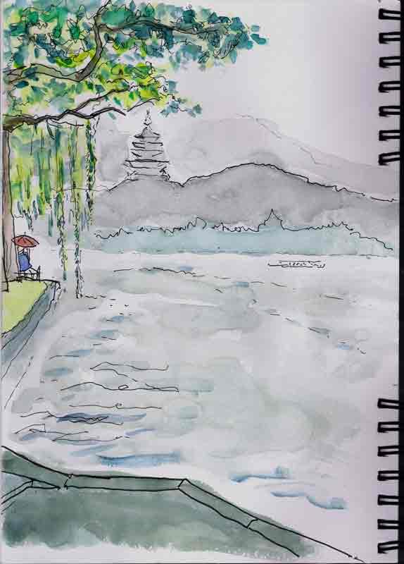 La pagode Leifeng, un jour de pluie