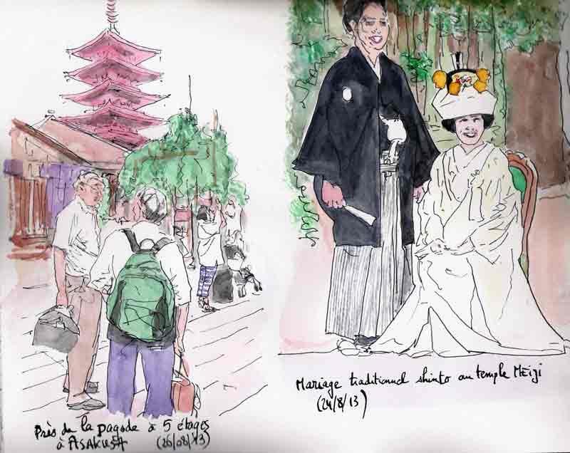 pagode à  Asakusa et mariage à Harajuku