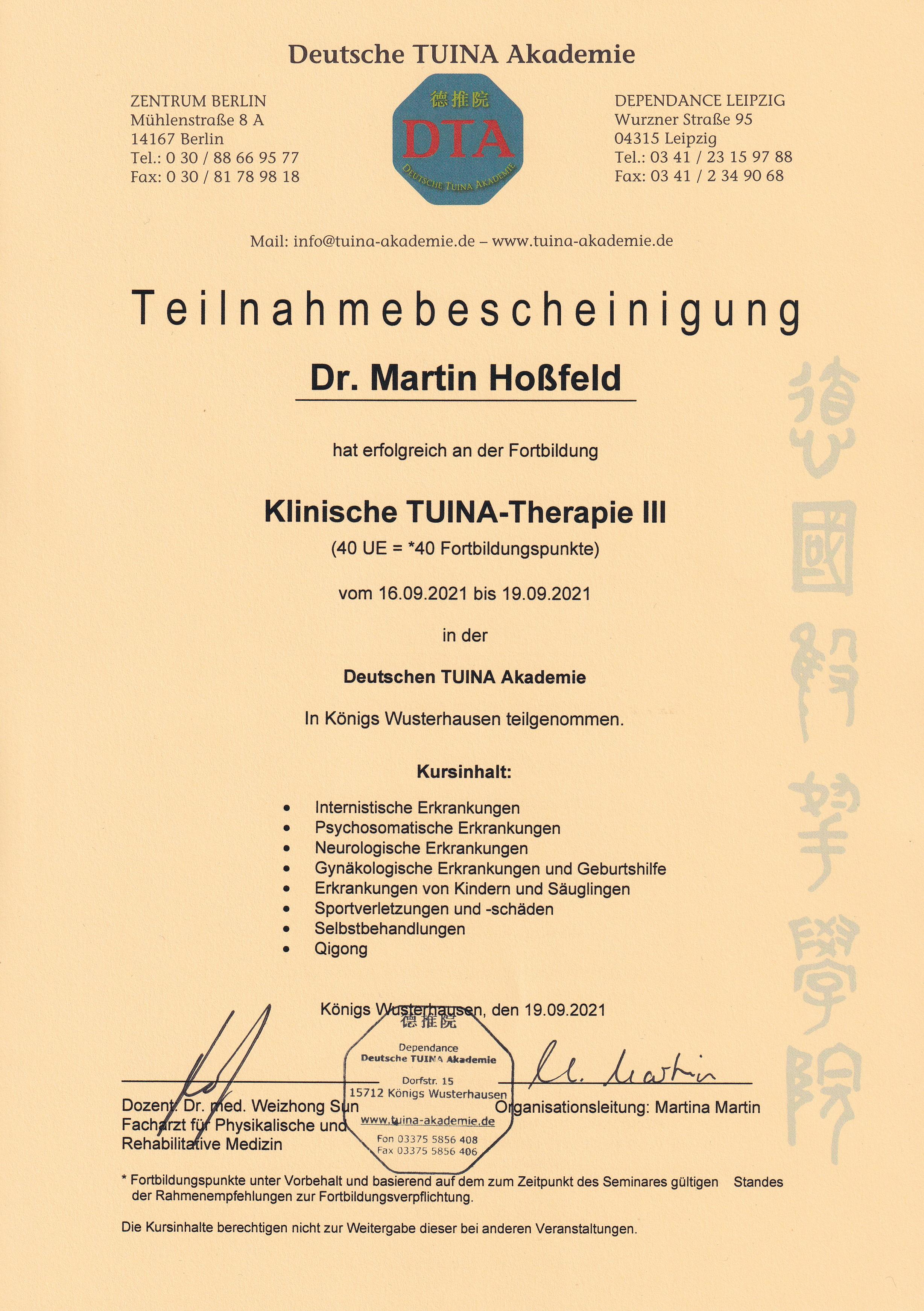 Zertifikat Tuina III Deutsche Tuina Akademie