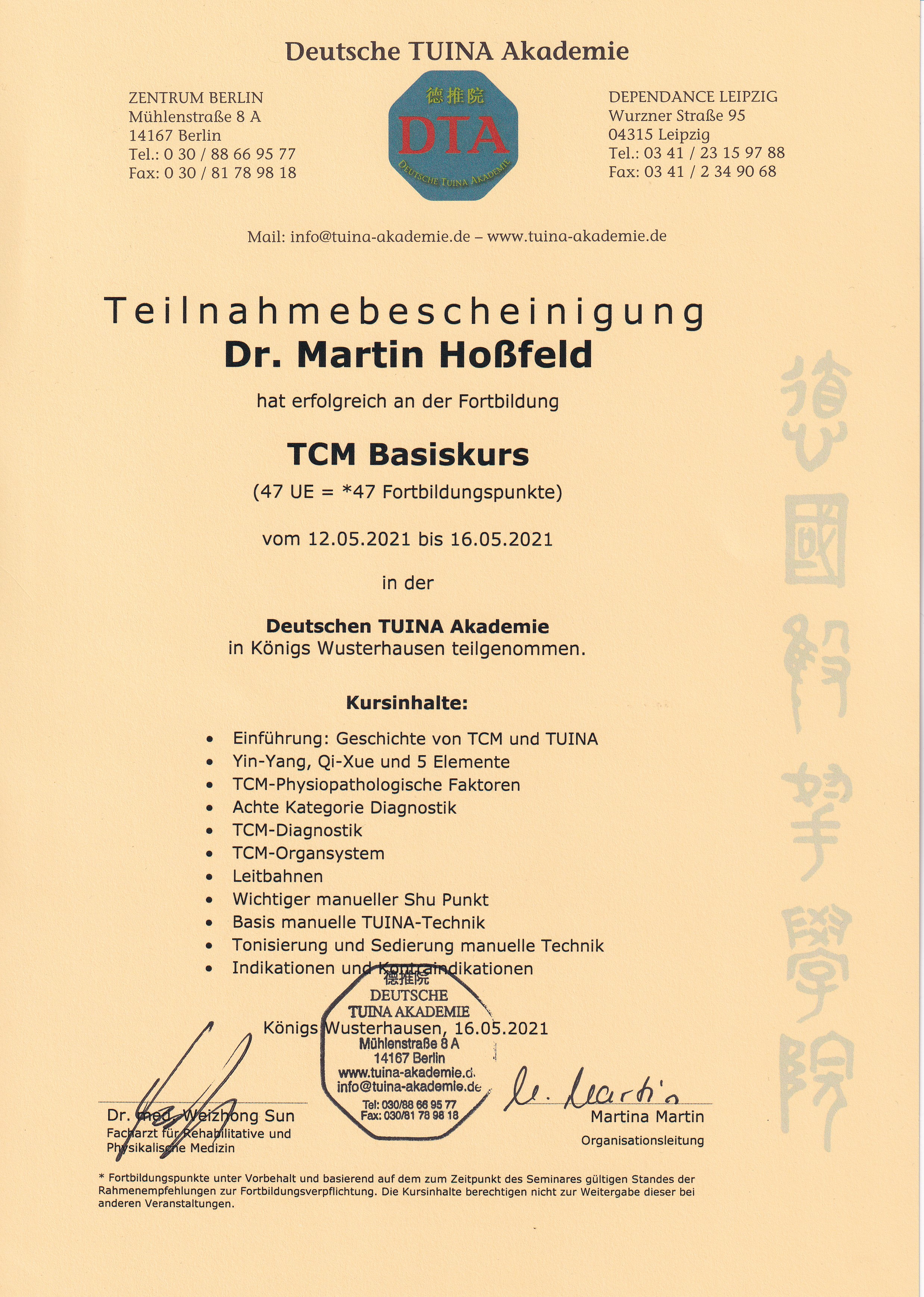 Tuina TCM Basiskurs Zertifikat Martin Hossfeld