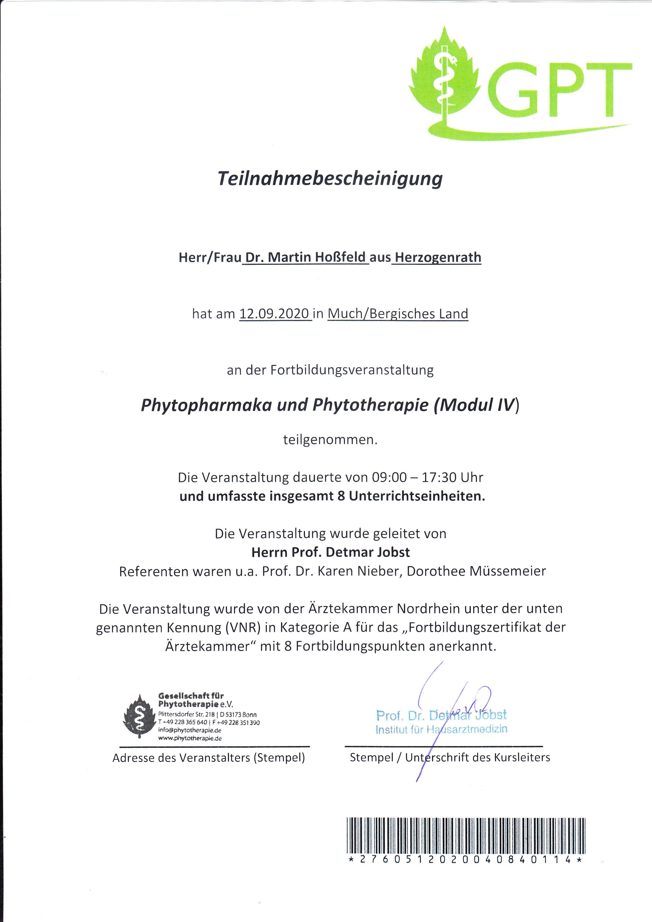 Fortbildung Phytotherapie GPT Much 11-13.09.2020
