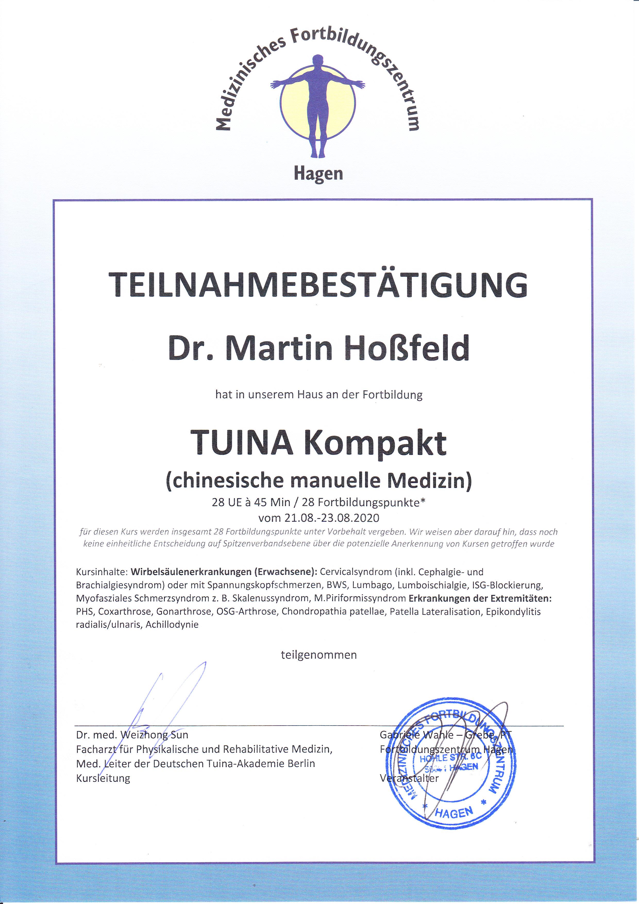 Zertifikat Tuina kompakt DTA