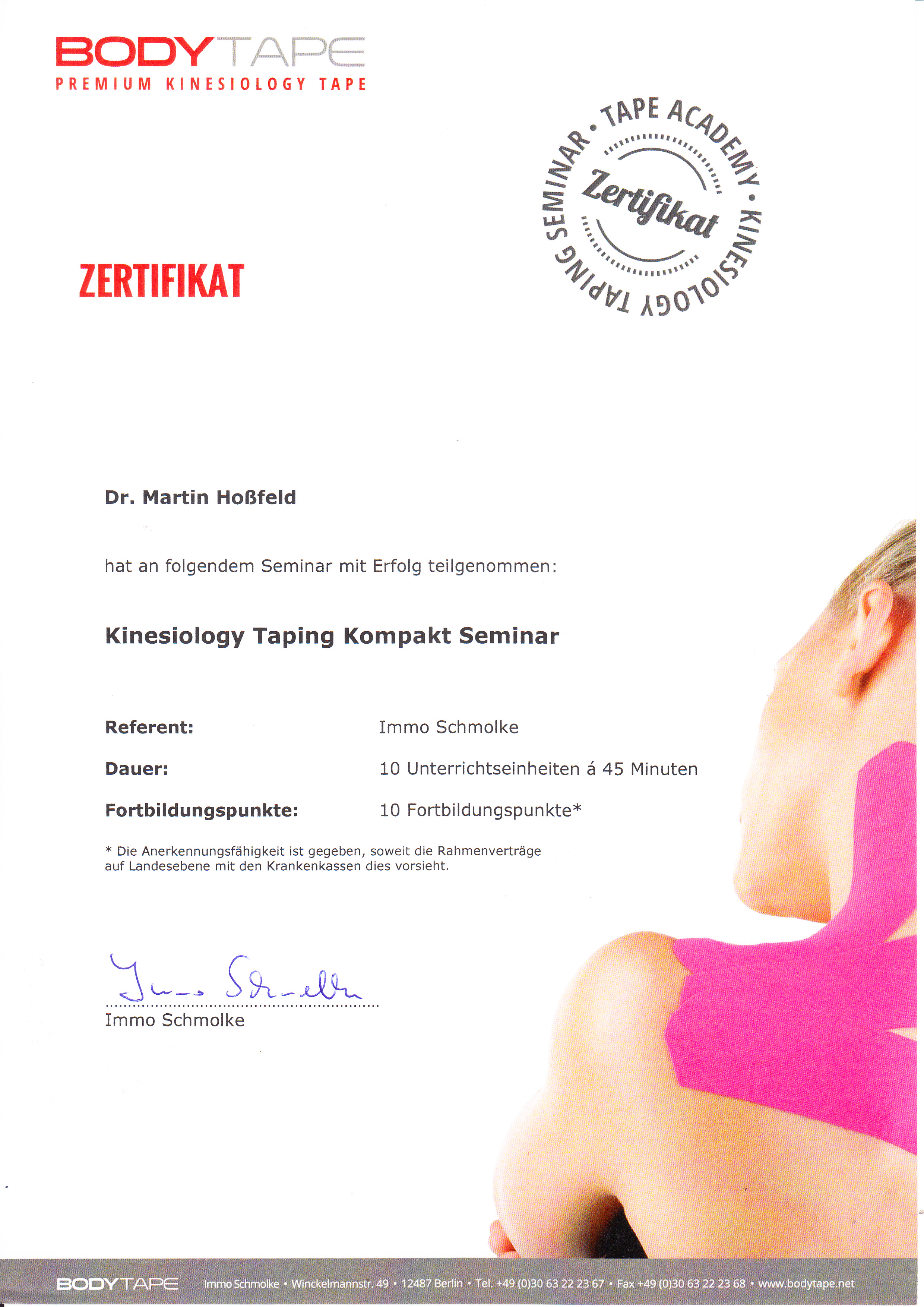 Zertifikat Kinesiology Taping Dr Martn Hoßfeld