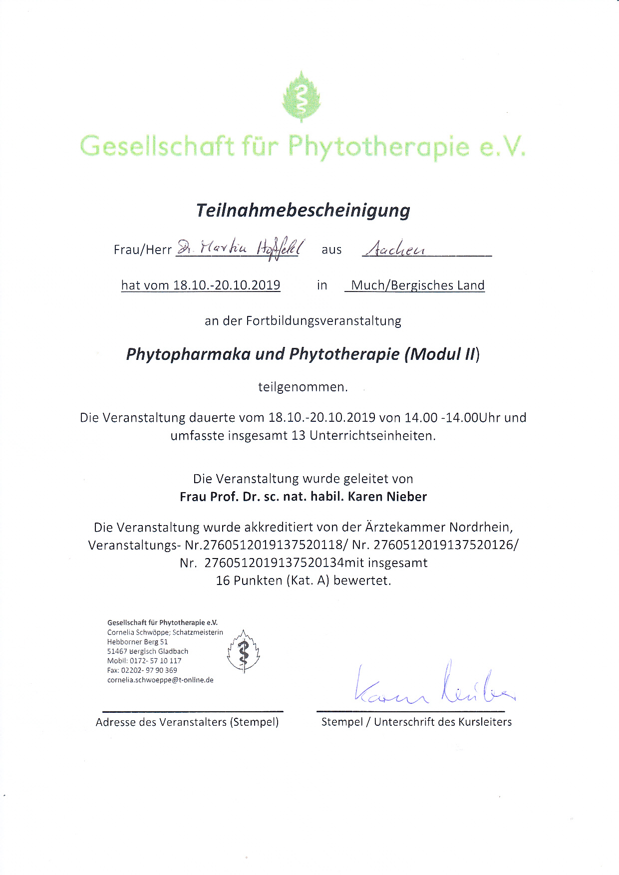 Teilnahme GPT Fortbildung Phytotherapie II Much Ok