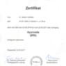 Zertifikat Ayurveda Dr. Martin Hoßfeld Aachen