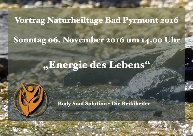 Vortrag Energie des Lebens Naturheiltage Pyrmont