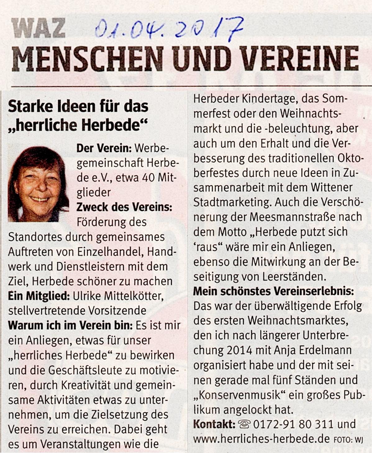 """Die WAZ über """"herrliches Herbede"""""""