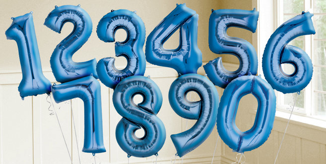"Giant 34"" Blue Numbers"