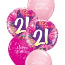 21st Birthday Balloon Bouquet (Choice of Design Colours)
