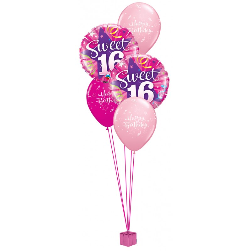 16th Birthday Balloon Bouquet (Choice of Blue or Pink)