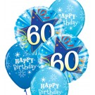 60th Birthday Balloon Bouquet (Choice of Design Colours)