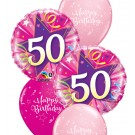 50th Birthday Balloon Bouquet (Choice of Design Colours)