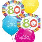 80th Birthday Balloon Bouquet (Choice of Design Colours)
