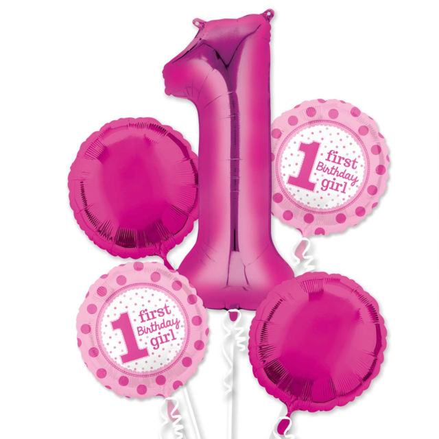 1st Birthday ALL FOIL Balloon Bouquet (Choice of Blue or Pink)