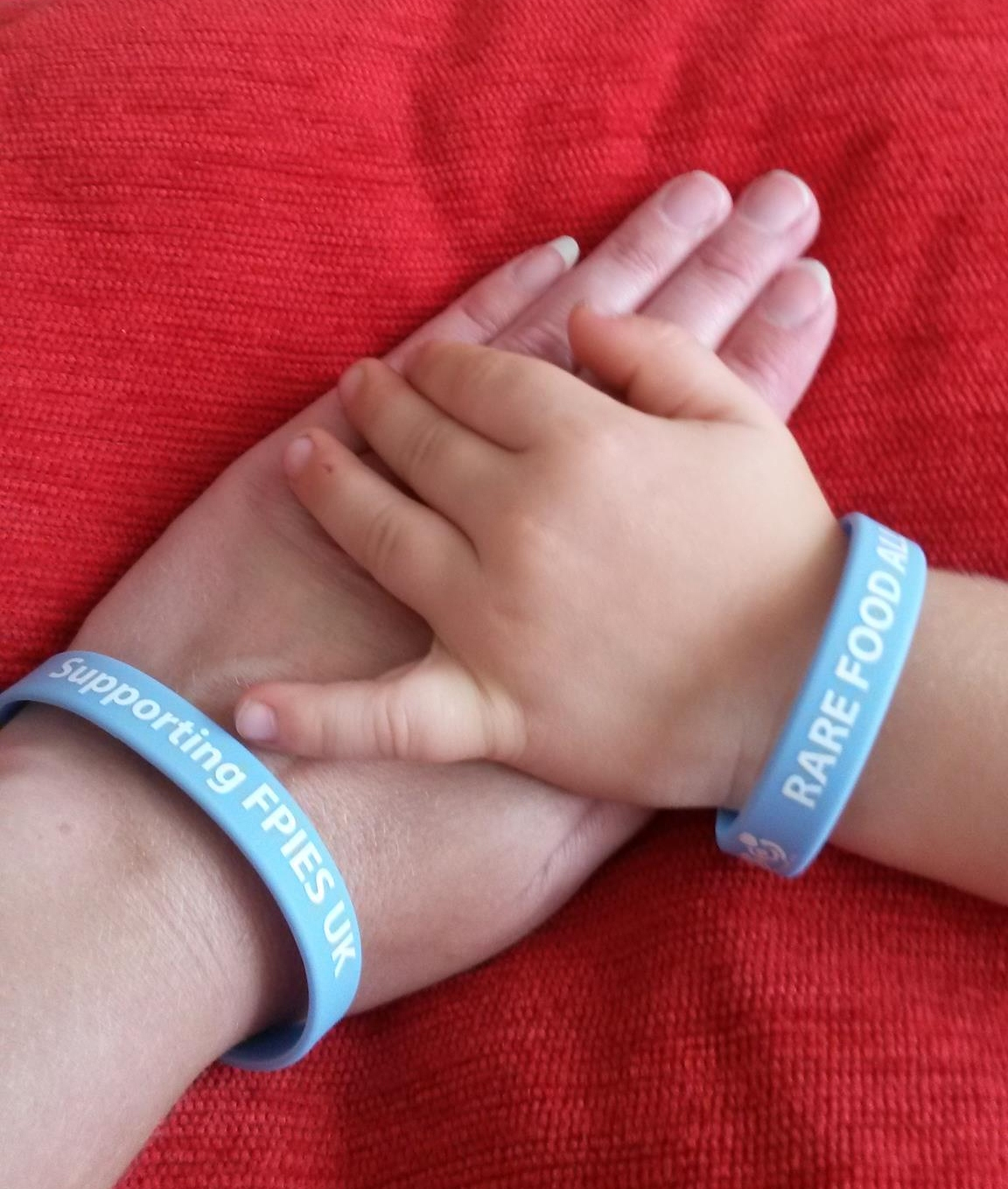 FPIES UK adult charity awareness wristband plus FREE child/toddler alert band