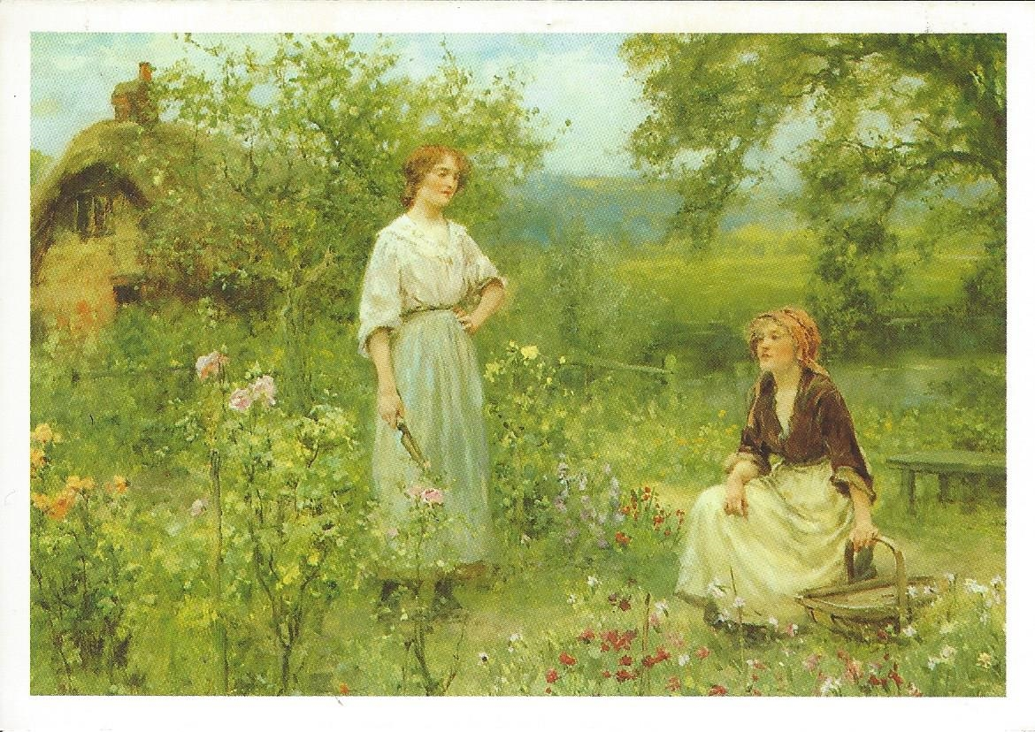 English country garden paintings - Ladies In An English Country Garden