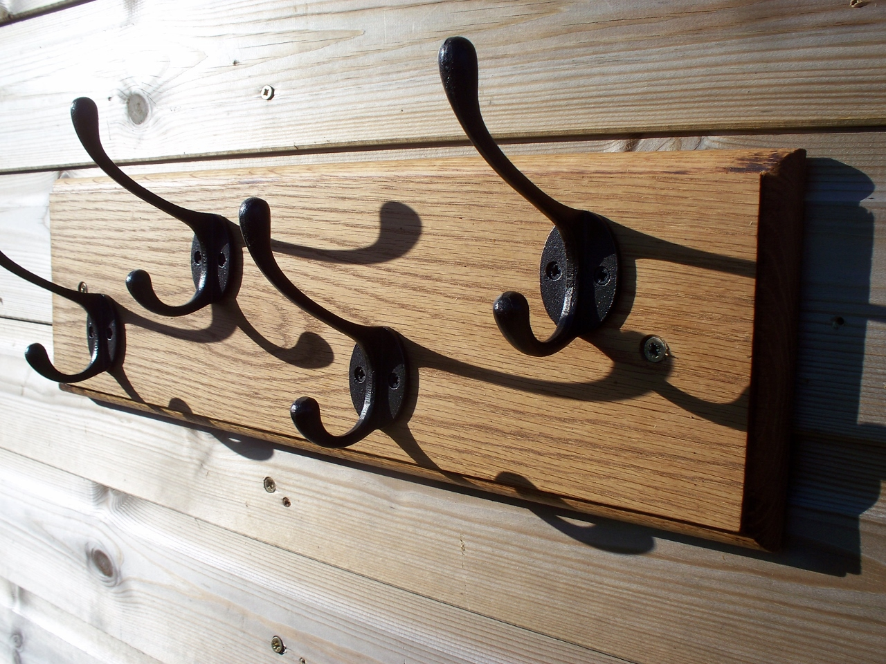 Solid Oak Coat Rack with reproduction antique finish victorian coat hooks