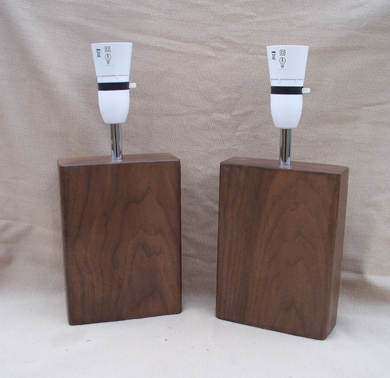 Matching Pair of Solid Walnut Wood Lamps  - reclaimed Walnut beam Table Lamp bedside lamp WL2