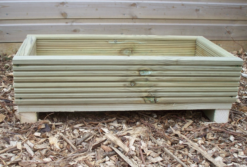 2 x Decking alpine garden planter, outdoor wood alpine planter trough