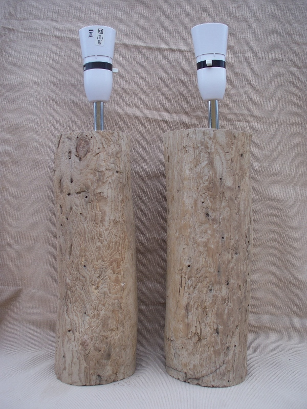 Matching Pair of Tall Yorkshire Coast Driftwood Log Table or Bedside Lamp  DWL4